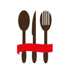 color silhouette with cutlery and ribbon vector image