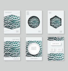 Paper waves 3d over design template colorful vector