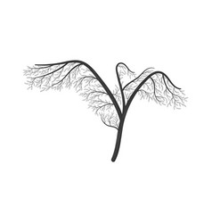 crane with wings spread stylized bush vector image