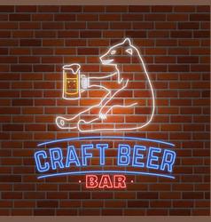 Neon signboard craft beer with bear vector