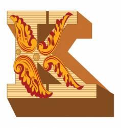 3d vintage letter k vector image vector image