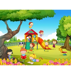 Children playing in the playground vector