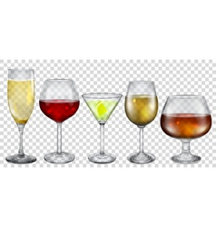 Transparent glasses with drinks vector