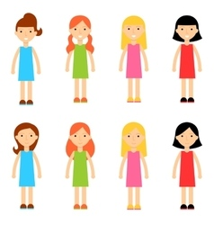 Flat cartoon girl characters collection vector