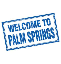 Palm springs blue square grunge welcome isolated vector