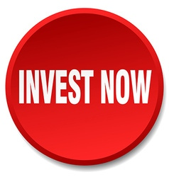 Invest now red round flat isolated push button vector