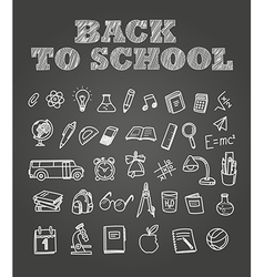 Back to scholl chalk doodles Education elements vector image vector image