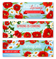 Banners for spring time flowers sale vector