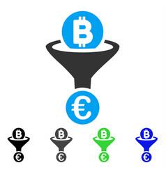 Bitcoin euro conversion funnel flat icon vector