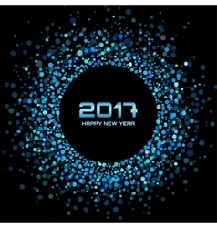 Blue confetti circle New Year 2017 background vector image