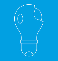 Broken lightbulb icon outline vector