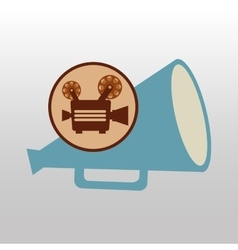 Camera movie vintage megaphone icon design vector