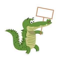Cartoon crocodiles with empty signboard vector