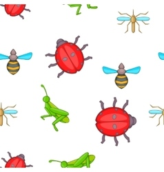 Different insects pattern cartoon style vector image