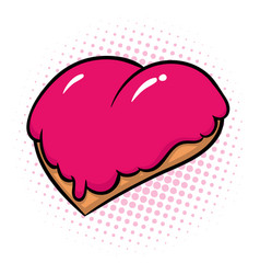Donut in form of heart with pink glaze vector