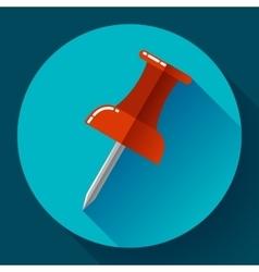 Flat Push pin icon vector image vector image