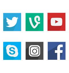 flat social media icons vector image vector image