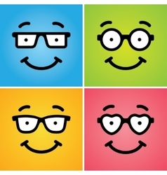 Funny geek faces vector