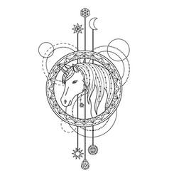 geometric unicorn symbol vector image vector image