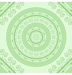 Green circle lace ornament vector