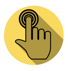 Hand click on button flat black icon with vector