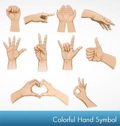 hand symbol collection vector image vector image