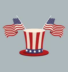 hat flag united states patrotism stamp vector image