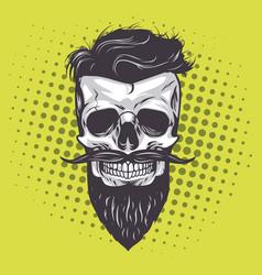 hipster skull pop art vector image vector image