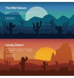 Horizontal banner set with lonely desert and wild vector image