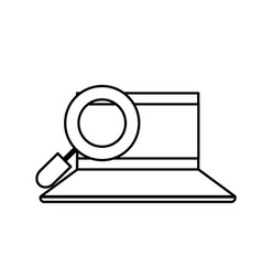 Line computer with magnifying glass and security vector