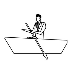 man business paddle success design line vector image