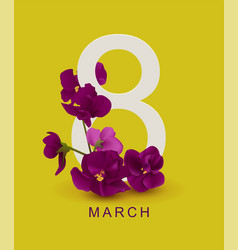 march 8 greeting card template violet flower on vector image