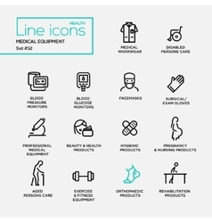 Medical Equipment - line design pictograms set vector image
