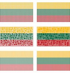 Mosaic lithuania flag set vector
