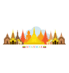 myanmar architecture landmarks skyline vector image vector image