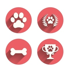 Pets icons Dog paw sign Winner laurel wreath vector image
