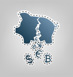 Pig money bank sign blue icon with vector