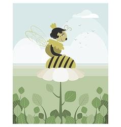 Queen bee resting on a flower vector