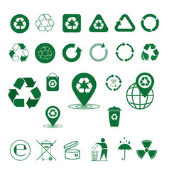 Recycle waste symbol green arrows logo set web vector