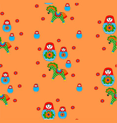 seamless patterns of nesting dolls and horses vector image vector image