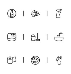 Set of 9 editable cleanup outline icons includes vector