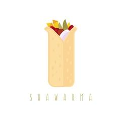Shawarma gyros doner kabob isolated design vector