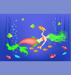 Underwater world little mermaid fishes vector