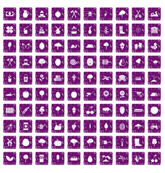 100 agriculture icons set grunge purple vector
