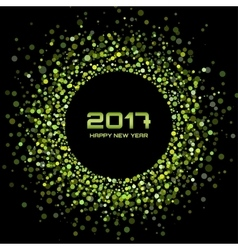 Green confetti circle New Year 2017 background vector image