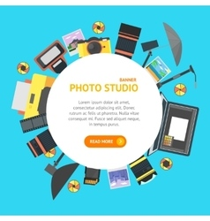 Professional photo studio banner card vector