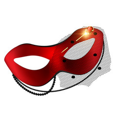 carnival red half-mask and golden pin vector image