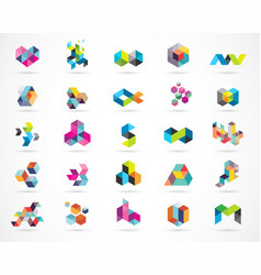 creative digital abstract colorful logos vector image