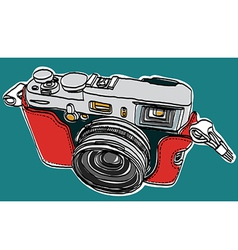 Rangefinder camera sketchbook vector