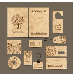 Business cards collection with coffee concept vector